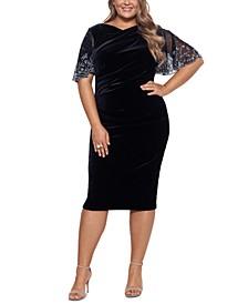 Plus Size Velvet Beaded-Sleeve Dress