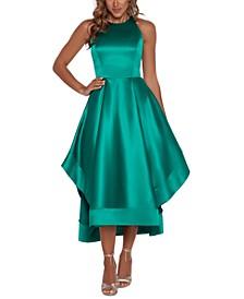 Satin High-Low Halter Dress