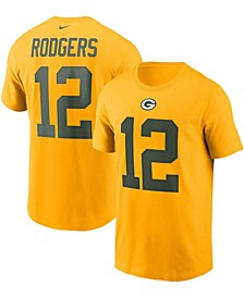 Men's Aaron Rodgers Gold Green Bay Packers Name and Number T-shirt