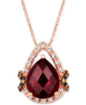 Pomegranate Garnet (3-3/4 ct. t.w.) & Diamond (1/5 ct. t.w.) Pendant Necklace in 14k Rose Gold