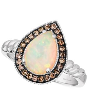 Neopolitan Opal (7/8 ct. t.w.) & Chocolate Diamond (1/5 ct. t.w.) Halo Ring in 14k White Gold