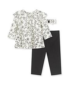 Baby Girls Toile Top, Legging and Headband Set, 3 Piece