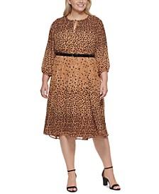 Plus Size Animal Print Chiffon Dress