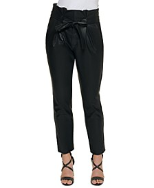 Petite High-Waisted Faux-Leather Pants