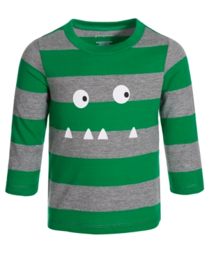 First Impressions Kids' Baby Boys Monster Stripe T-shirt, Created For Macy's In Green