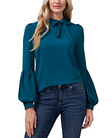 Solid Tie-Neck Puff-Sleeve Blouse