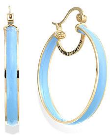 SIS by Simone I Smith Blue Raspberry Enamel Hoop Earrings in 18k Gold over Sterling Silver (40mm)