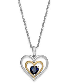 Gemstone Heart Pendant Necklace in 14k Gold and Sterling Silver (5/8 ct. t.w.)