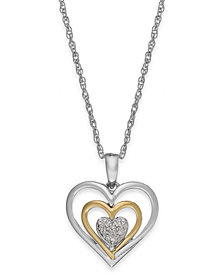 Diamond Accent Heart Pendant Necklace in 14k Gold and Sterling Silver