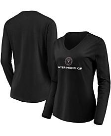 Women's Black Inter Miami CF Team Primary Logo Long Sleeve V-Neck T-shirt
