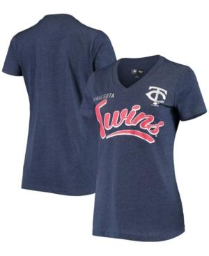 Women's Heathered Navy Minnesota Twins Good Day V-Neck T-shirt