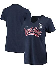 Women's Heathered Navy Boston Red Sox Good Day V-Neck T-shirt