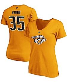Women's Pekka Rinne Gold-Tone Nashville Predators Team Authentic Stack Name Number V-Neck T-shirt