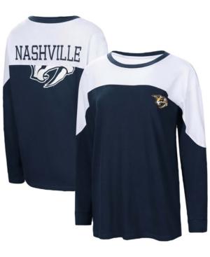 Women's Navy Nashville Predators Pop Fly Long Sleeve T-shirt