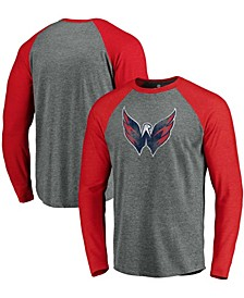 Men's Heathered Gray and Heathered Red Washington Capitals Team Tri-Blend Raglan Long Sleeve T-shirt