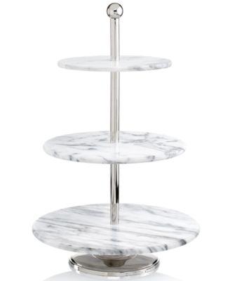 godinger serveware la cucina marble 3tier server