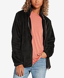 Juniors' Pheelin Phuzzy Fleece Zip-Up Sweater