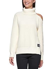 Cut-Out-Shoulder Turtleneck Sweater