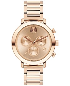 Women's Swiss Chronograph Bold Evolution Rose Gold Ion Plated Bracelet Watch 38mm