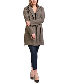 Button-Front Longline Plaid Jacket