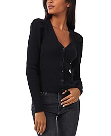 Ribbed Payton Puff-Shoulder Button-Down Sweater, Created for Macy's