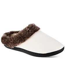 Women's Velour Boxed Slippers With Faux-Fur Trim