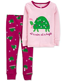 Baby Girls 2-Pc. Holiday Turtle Cotton Pajamas