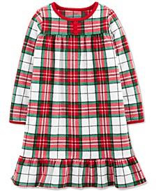 Toddler, Little & Big Girls Christmas Plaid Fleece Nightgown