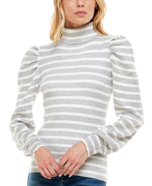 Juniors' Striped Puff-Sleeve Ribbed Sweater