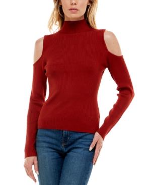 Juniors' Cold-Shoulder Mock-Neck Sweater