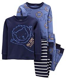 Toddler Boys Lion Snug Fit Cotton Pajama, 4 Piece Set
