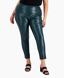 Faux-Leather Ankle-Length Skinny Pants, Created for Macy's