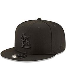 Men's Black St. Louis Cardinals Black on Black 9FIFTY Team Snapback Adjustable Hat
