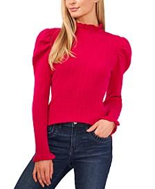 Ruffled Puff-Sleeve Sweater