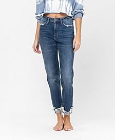 Women's Cuffed Distressed Hem Stretch Slim Boyfriend Jeans