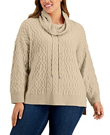 Plus Size Funnel-Neck Mixed-Knit Sweater