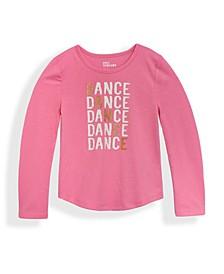 Little Girls Ballet Long Sleeve Dance Text T-shirt