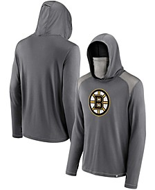 Men's Charcoal Boston Bruins Rally On Transitional Pullover Hoodie with Face Covering