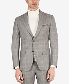 Men's Slim-Fit Black & Cream Plaid Suit Separate Jacket