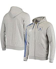 Men's Gray Colorado Avalanche 3-Stripe Tape Full-Zip Track Jacket