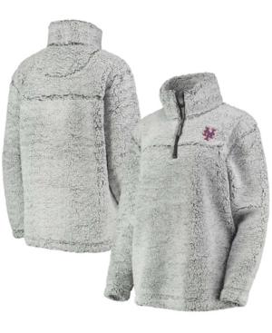 Women's Gray New York Mets Sherpa Quarter-Zip Pullover Jacket
