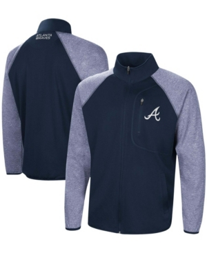 Men's Navy Atlanta Braves Freestyle Transitional Raglan Full-Zip Jacket