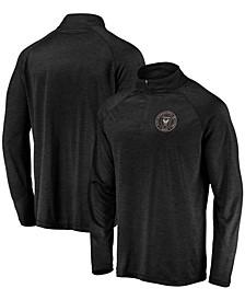 Men's Black Inter Miami CF Striated Primary Logo Raglan Quarter-Zip Pullover Jacket