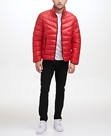 Men's Mixed Quilted Midweight Puffer with Contrast Zip Detail