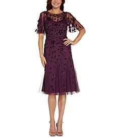 Embellished Flutter-Sleeve A-Line Dress