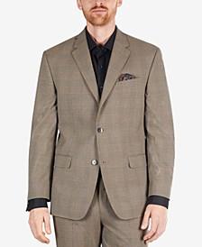 Men's Classic-Fit Tan Plaid Suit Separate Jacket