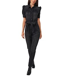 Puff Short Sleeve Collared Belted Jumpsuit