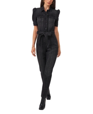 1.state Puff Short Sleeve Collared Belted Jumpsuit