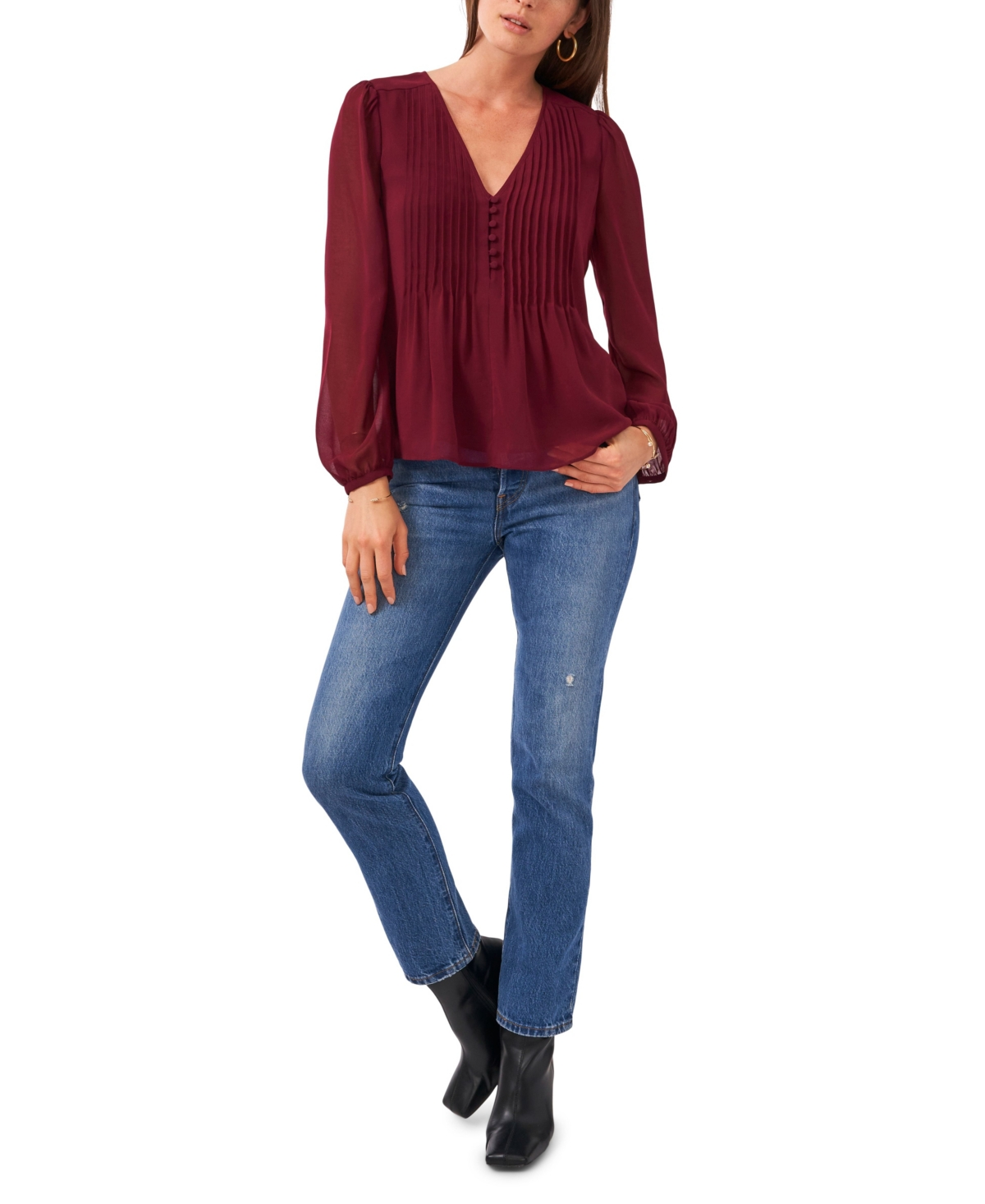 1.state Long Sleeve V-Neck Pleated Button Front Top
