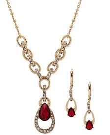Crystal & Pear-Shape Stone Lariat Necklace & Drop Earrings Set